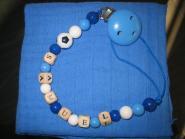 "Nuggikette blau mit ""Namen"" + Nuscheli"