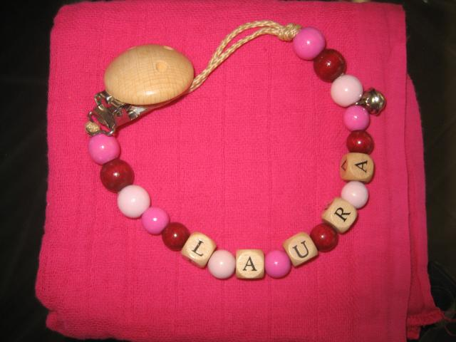 """Nuggikette rosa mit """"Namen"""" + Nuscheli"""